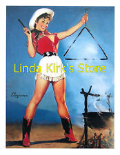 Pin Up Girl PRINT Brunette Sexy Cow Girl With Mini Skirt Boots Hat & Triangle