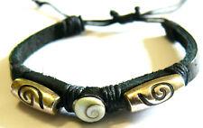 Bracelet Oeil de Sainte Lucie/Shiva Brésilien Cuir Coquillage Métal