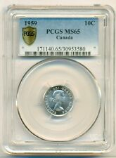 Canada Silver 1959 10 Cents MS65 PCGS Secure