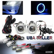 """3"""" BLUE LED HALO PROJECTOR FOG LIGHTS DUAL SWITCH FOR CHEVY+6000K WHITE HID KIT"""