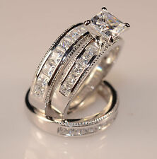 Men And Ladies White Gold Finish Trio Set Wedding  Engagement Rings L9 M 12