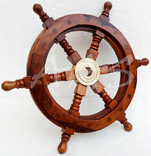 """Collectible Brass Ship Wheel 12""""~Wooden Boat Steering ~ Nautical Maritime Decor"""