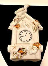 Vtg Wall Pocket Cuckoo Clock White Birds Ceramic Gold Stamped Made Japan 4137