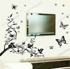 Mariposas Vid flores pegatinas de pared Vinilo Mural Arte calcomanía wallpaper, decoración