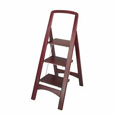 Cosco Rockford 3-Step Mahogany Wooden Folding Stylish Home Step Stool Ladder