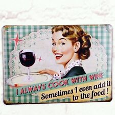 Tin Up Girl Cook With Wine Metal Tin Sign Retro Home Pub Bar Wall Decor Poster