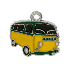 4 YELLOW & BLACK RETRO VW STYLE CAMPER-VAN CHARM~18x20mm~Key Ring~Birthday (16E)