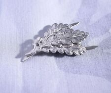 WWII GERMAN ARMY SNIPER OAK LEAF METAL CAP MILITARY BADGE SILVER