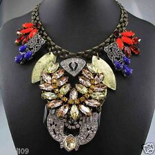 Newest Design huge Lady Statement crystal chunky chain charm coin necklace q279