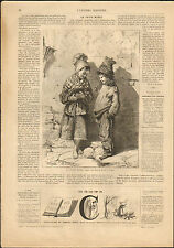 ENFANTS AVEC CHAT LE PETIT MINET M. L. THOMAS GRAVURE 1866