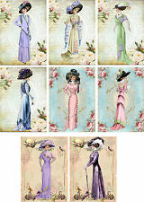 Vintage inspired fashion ladies tag blank small card ATC altered art set of 8
