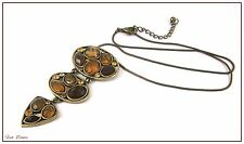 LOVELY 3 TIER ANTIQUE BRONZE PENDANT WITH AMBER TONE CABOCHONS NECKLACE (15)