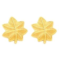 Major LCDR Oak Leaf Pin Set Rank Insignia Police Military Gold Plated 904 New