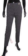 T5-B4 H&M Hose Slacks schwarz weiß Krawattenmuster Gr. 38 L28 Stretch ungetragen