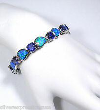 Tanzanite & Blue Fire Opal Solid 925 Sterling Silver Link Tennis Bracelet 7.25''