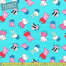 Springs Creative Fabric Peppa Pig And Friends Teal PER METRE Childrens Cartoon L
