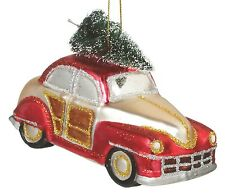 Vintage Look Car with Christmas Tree Glass Holiday Ornament Midwest CBK