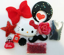 USA DIY Hello Kitty Red Bow Large Bling Phone Flatback Cabochon Deco Kit J45