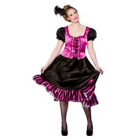 Ladies WESTERN CAN CAN SALOON GIRL PINK Fancy Dress Wild West Costume UK 8-28