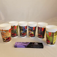 Jurassic Park McDonalds Cups Lot Complete Set of 6 Coca Cola 1992 and Watch