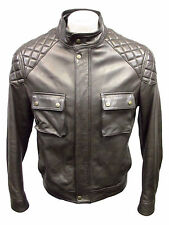 BARBED Men Medium Leather Jacket Grey Rider Quilt Shoulder Jkt MSRP $995 H156