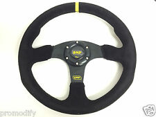 350mm Suede Leather Flat Style Steering Wheel OMP MOMO Rally Drifting Racing