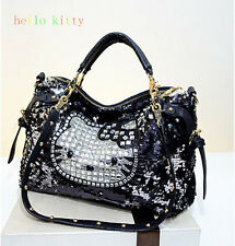 HelloKitty Crystals Messenger Cross body Handbag Shoulder Tote Bag Purse Black