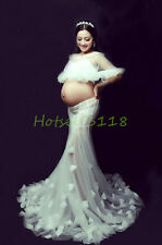 White Lace Maternity Trailing Gown Dress Photography Props Studio Dress Lace-up