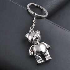 New Creative 3D Bear Collectable KeyRings Silver Metal Bag Pendant Keychain Gift