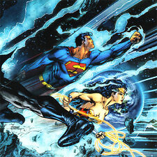 JIM LEE Trinity ART PRINT Cover BATMAN Wonder Woman SUPERMAN Signed 11 x 5.75""