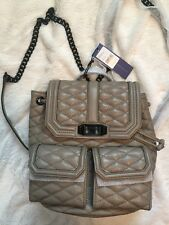 NWT Rebecca Minkoff Quilted Love Backpack Leather Chain Sandstone Tan Beige