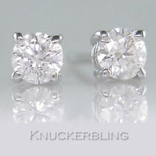 0.30ct Certificated D VVS1 Diamond Solitaire Stud Earrings Solid 18ct White Gold