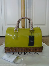 NWT FURLA Lime Green/Quoio Wicker Candy Satchel Bag $498 - Made in Italy