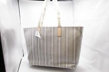 NWT COACH 23103 Legacy Weekend Ticking Stripe PVC Large Dogleash Tote Bag