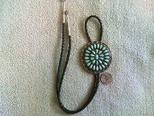 Zuni Petit-Point Turquoise Bolo Tie Sterling Silver