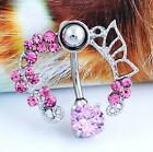 Wholesale 1pc Rhinestone Dangle Navel Belly Bar Button Ring Body Piercing Ring