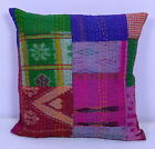"16"" INDIAN CUSHION PILLOW COVERS KANTHA THROW VINTAGE SILK Ethnic Decorative Art"