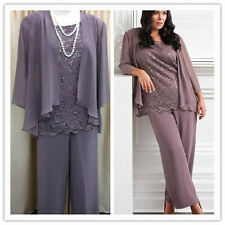 Sequin Lace Mother of the Groom Outfit  With Jacket Chiffon Pant Suit Plus Size