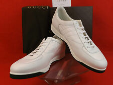 NIB GUCCI WHITE LEATHER QUILTED LACE UP WEB LOGO SNEAKERS 13.5 G 14.5 $395