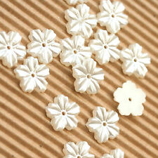 "US SELLER - 100 x 1/2"" Plastic Faux Pearl Flower Flatback Beads for Cards SB508"