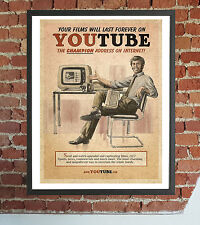 QUADRO STAMPA SU TELA YOUTUBE VINTAGE 40X30 DESIGN ARREDO RETRO'