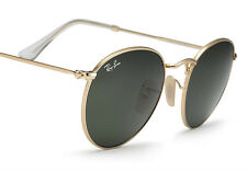 NEW Original RAY-BAN ICONS Round Metal Gold Green G-15 Sunglasses RB 3447 001 50