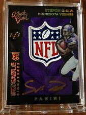 2015 Black Gold NFL Shield Patch Auto Stefon Diggs Vikings Card 1/1 TRUE 1/1 WOW