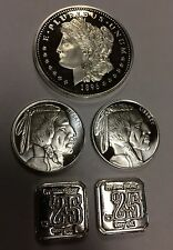 LOT OF FOUR 1/4 Oz Fractional SILVER BAR ROUNDS .999 Fine BU 1 oz TOTAL SILVER