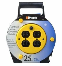 Woods 4907 25-Foot Extension Cord Reel with 4-Outlets 16/3 SJTW and 12A Circuit