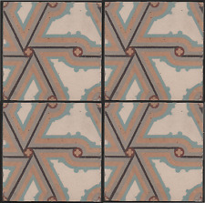 Belgian/French period set of 4 encaustic floor tiles hall fireplace hearth etc