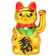 CHINESE FENG SHUI LUCKY WAVING GOLD CAT FIGURE WITH MOVING ARM IN COLOURFUL BOX