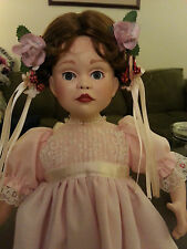 """Paradise Galleries """"A Party for Sarah"""" 14"""" porcelain doll, stand, and mini gift"""