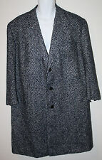 HADLEIGH'S Navy White Wool Silk Cashmere Top OverCoat Trench Coat XXL 52