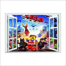 LEGO MOVIE 3D Window View Kid Decal WALL STICKER Decor Art Mural Emmet Benny